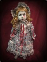 Bloody Blonde Bonnet One Eye Creepy Horror Doll by Bastet2329