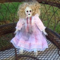 Tears of Blood Sitting Blonde Pink Dress Creepy Horror Doll by Bastet2329