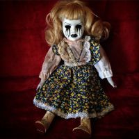 Sitting Mascara Tears Girl In Floral Dress Creepy Horror Doll by Bastet2329