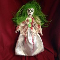 Long Green Hair Bloody Clown Girl Circus Sideshow Creepy Horror Doll by Bastet2329