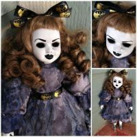 Skull Ribbon Mourning Lady with Hollow Eyes Creepy Horror Doll by Bastet2329