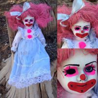 Cute Pink Hair Clown Sit or Stand Circus Sideshow Creepy Horror Doll by Bastet2329