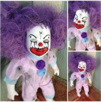 Smaller Closed Eyes Purple Hair Clown Circus Sideshow Creepy Horror Doll by Bastet2329