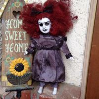 Red Head Goth Girl Mourning Creepy Horror Doll by Bastet2329