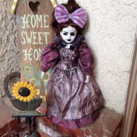 Victorian Mourning Lady with Bow Creepy Horror Doll by Bastet2329