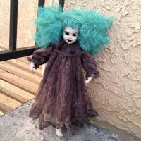 Blue Hair Mourning Lady with Hollow Eyes Creepy Horror Doll by Bastet2329