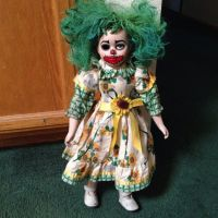 Two Tone Green Hair Clown Girl Sunflower Circus Sideshow Creepy Horror Doll by Bastet2329