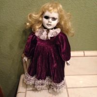 Creepy Blonde w Purple Velvet Dress Old Key Horror Doll by Bastet2329
