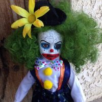 Green Hair Crackle Clown Flower Circus Sideshow Creepy Horror Doll by Bastet2329
