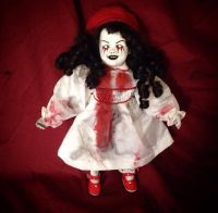 Smaller Tears of Blood White and Red w Berret Creepy Horror Doll by Christie Creepydolls