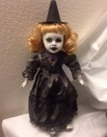 Pretty One Eye Witch Blonde Hair w/ Brooch Creepy Horror Doll by Christie Creepydolls