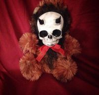 Horned Devil Skull Brown Bear Plush Red Bow Creepy Horror Doll by Bastet2329