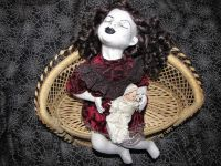 Sleeping Child on Bench Sitting Laying Creepy Horror Doll by Christie Creepydolls