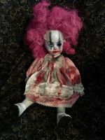 Smaller Sitting Bloody Pink Haired Clown Circus Sideshow Creepy Horror Doll by Christie Creepydolls
