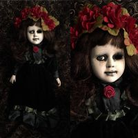 One Eye Cute Girl in Velvet Dress & Flower Crown Creepy Horror Doll by Bastet2329 Christie Creepydolls