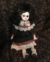 Cute Goth Girl w Skull Sitting Creepy Horror Doll by Bastet2329 Christie Creepydolls