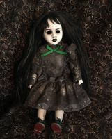 Sitting Goth Girl Mourning Dress w Black Hair Creepy Horror Doll by Bastet2329 Christie Creepydolls