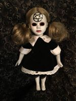 Small Goth Wednesday Addams Satan Girl Creepy Horror Doll by Christie Creepydolls