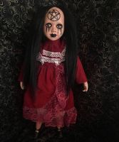 Black Hair Crying Pentacle Girl Crackle Paint Creepy Horror Doll by Bastet2329 Christie Creepydolls