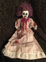 Large Sitting Bloody Purple Hair Clown Circus Sideshow Creepy Horror Doll by Bastet2329 Christie Creepydolls