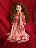 OOAK Walking Dead Zombie Girl Gothic Creepy Horror Doll Art by Christie Creepydolls