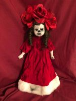 OOAK DOD Red Flower Girl Gothic Creepy Horror Doll Art by Christie Creepydolls