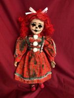 OOAK Raggedy Anne Clown Gothic Creepy Horror Doll Art by Christie Creepydolls