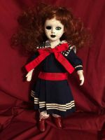 OOAK Sailor Girl Crackle Paint Creepy Horror Doll Art by Christie Creepydolls