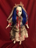 OOAK Blue Hair Vampire Bride Gothic Creepy Horror Doll Art by Christie Creepydolls