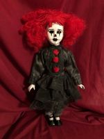 OOAK Gothic Red & Black Clown Creepy Horror Doll Art by Christie Creepydolls