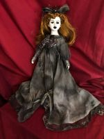 OOAK Gothic Spider Veil Creepy Horror Doll Art by Christie Creepydolls