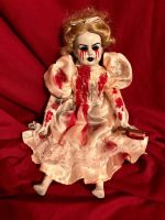 OOAK Sitting Tears of Blood w Knife Creepy Horror Doll Art by Christie Creepydolls