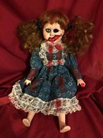 OOAK Cute Sitting Pigtails Vampire Creepy Horror Doll Art by Christie Creepydolls