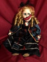 OOAK Sitting Split Face Vampire Creepy Horror Doll Art by Christie Creepydolls