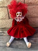 OOAK Sitting Red Clown Creepy Horror Doll Art by Christie Creepydolls