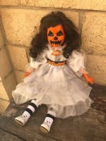 OOAK Sitting Pumpkin Halloween Creepy Horror Doll Art by Christie Creepydolls