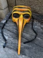 OOAK Yellow Plague Doctor Death Mask Creepy Horror Art by Christie Creepydolls