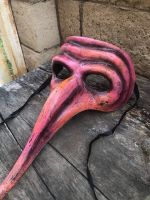 OOAK Pink Plague Doctor Death Mask Creepy Horror Art by Christie Creepydolls