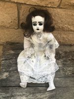 OOAK Musical Sitting White Creepy Horror Doll Art by Christie Creepydolls