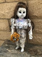 OOAK Child With Bear Creepy Horror Doll Art by Christie Creepydolls