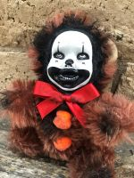 OOAK Twirly Eye Clown Teddy Bear Creepy Horror Doll Art Christie Creepydolls