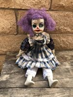OOAK Sitting Purple Clown Creepy Horror Doll Art by Christie Creepydolls