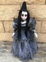 OOAK One Eye Black Gothic Mourning Witch Creepy Horror Doll Art by Christie Creepydolls