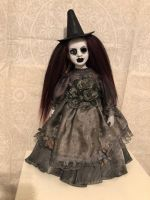 OOAK One Eye Burgundy Mourning Witch Creepy Horror Doll Art by Christie Creepydolls