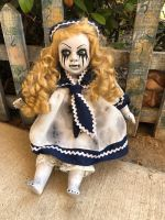 OOAK Sitting Sailor Mascara Tears Creepy Horror Doll Art by Christie Creepydolls