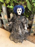 OOAK One Eye Blue Mourning Owl Creepy Horror Doll Art by Christie Creepydolls