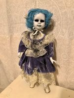 OOAK Hollow Eye Blue Hair Creepy Horror Doll Art by Christie Creepydolls