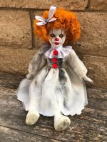 OOAK Sitting Pennywise IT Clown Creepy Horror Doll Art by Christie Creepydolls
