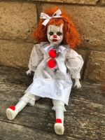 OOAK Sitting Sad Pennywise IT Clown Creepy Horror Doll Art by Christie Creepydolls