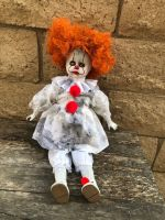 OOAK Sitting Pennywise IT Clown Girl Creepy Horror Doll Art by Christie Creepydolls